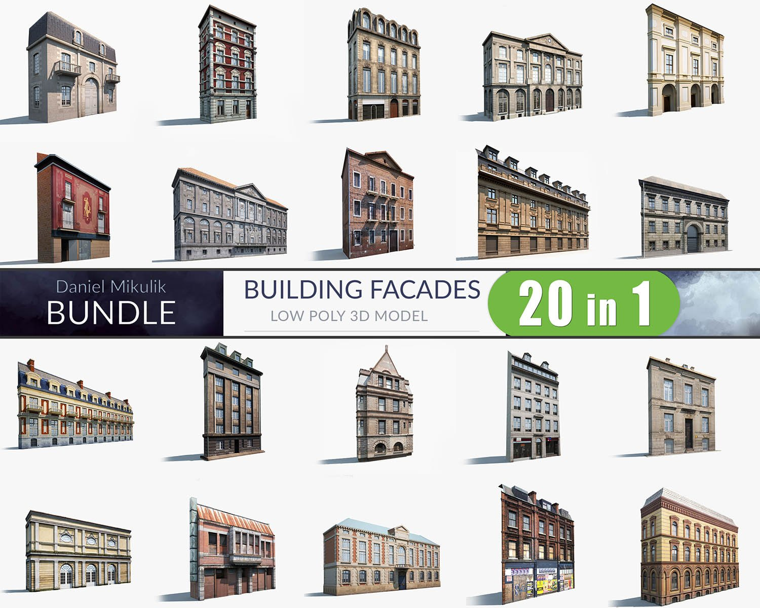 3d buildings facade